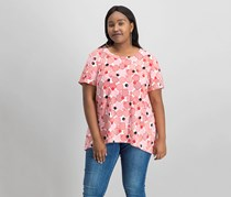 Anne Klein Women's Plus Size Printed High-Low Top, Tomato Combo