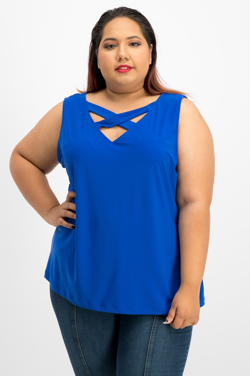 Women Plus Size Crisscross-Front Blouse, Royal Blue