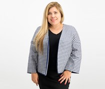 Gingham Dolman-Sleeve Blazer, Eclipse/Optic White
