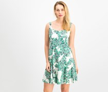 Nine West Women Printed Fit Flare Dress, Ivory/Green
