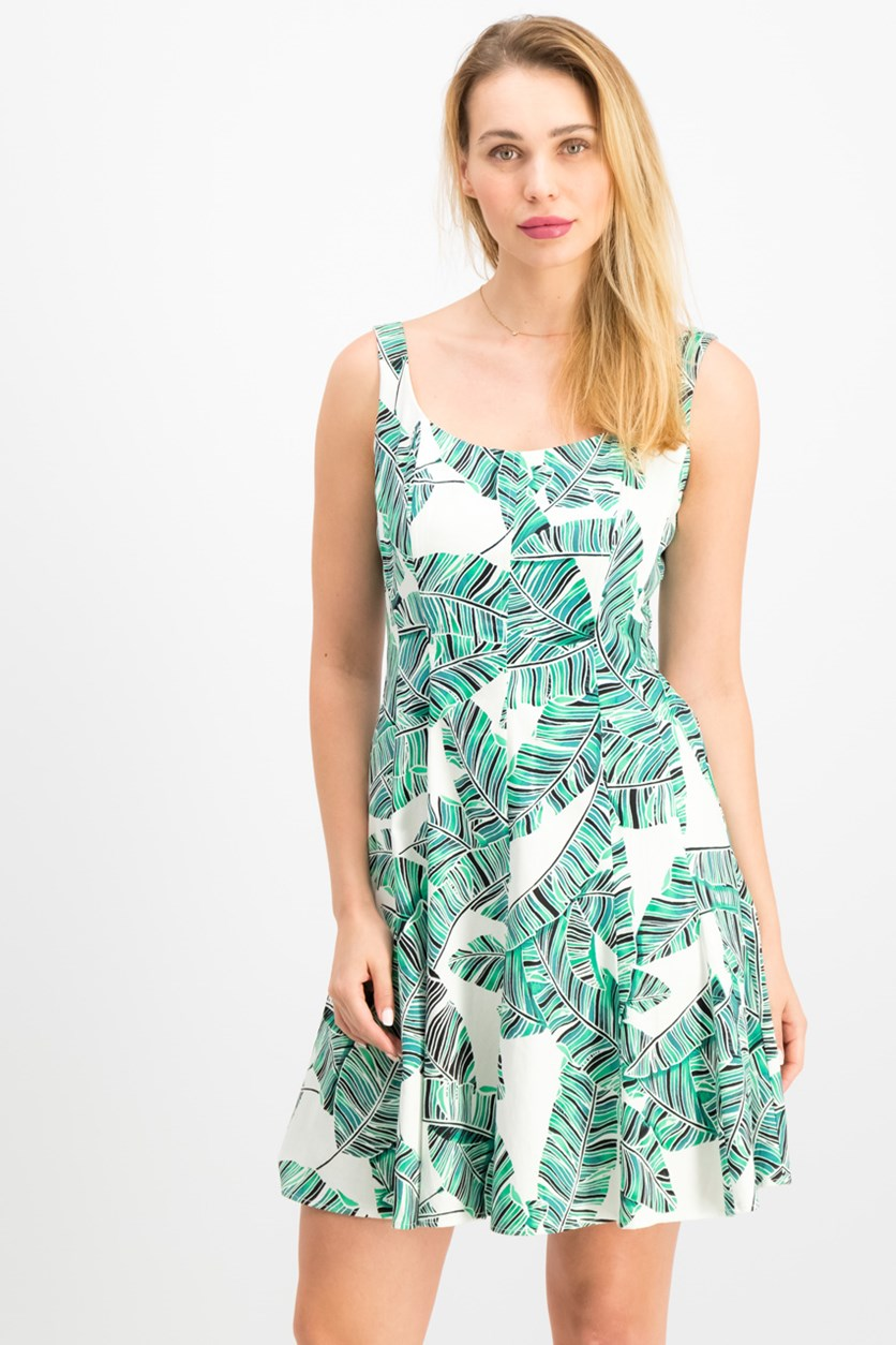 Women Printed Fit Flare Dress, Ivory/Green