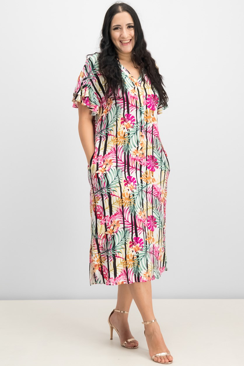 Women Printed Ruffled Shirtdress, Ivory/Fuschia Combo