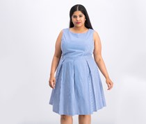 Women  Striped Belted A-Line Dress, Blue/White