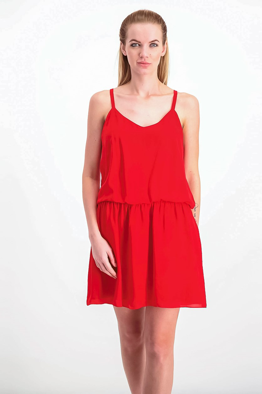 Women's V Neck Dress, Red