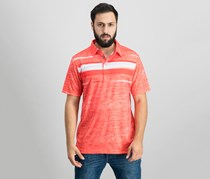 Pga Tour Double-Knit Stripe Performance Polo, Hibiscus