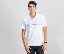PGA TOUR Mens Ombre Engineered Polo Shirt, Stripe Bright White