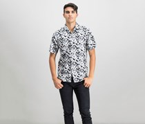 Tommy Bahama Mens Geo Lounge Silk Shirt, Black/Beige Combo