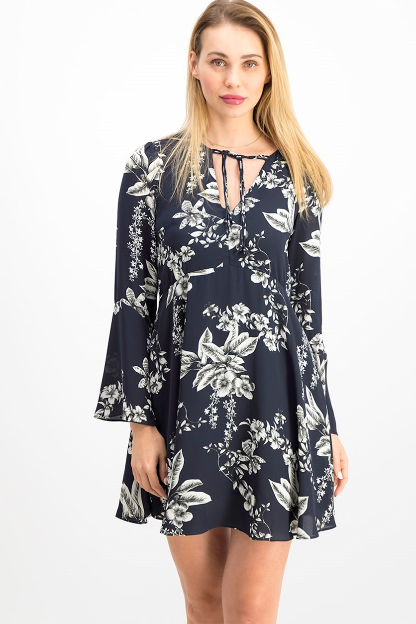 Women's Floral Print Dress, Navy