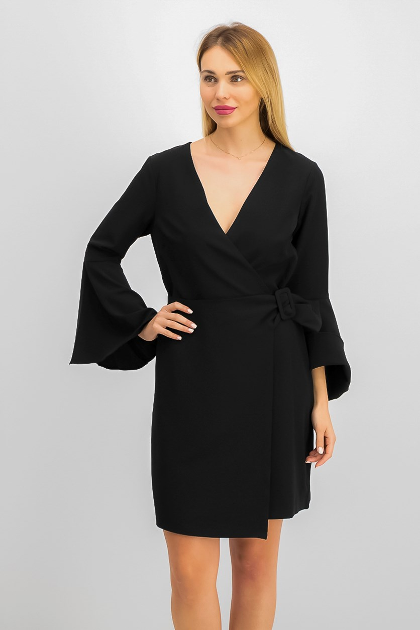 Women's Faux-Wrap Dress, Black