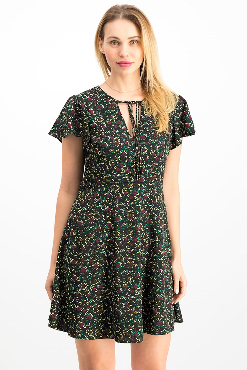 Women's Floral Print Dress, Black Combo