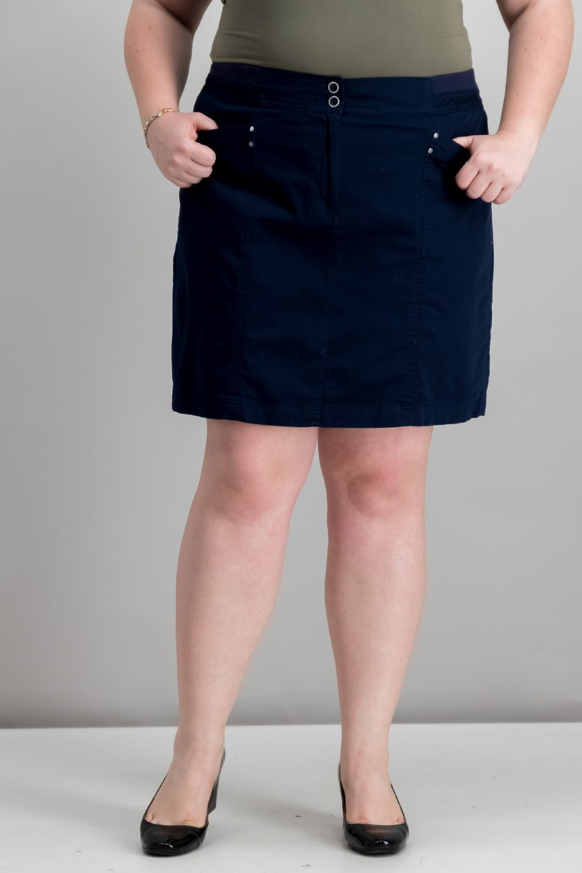 Plus Size A-Line Skort, Intrepid Blue