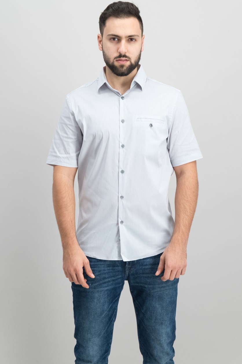 Men's Stripe Pocket Shirt, Smooth Silver
