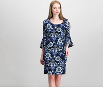 International Concepts Women's Printed Bell-Sleeve Dress, Black/Blue
