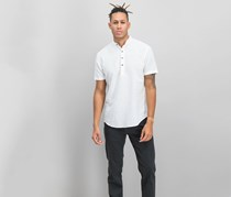 INC International Concepts Mens Four-Button Henley, Pure White