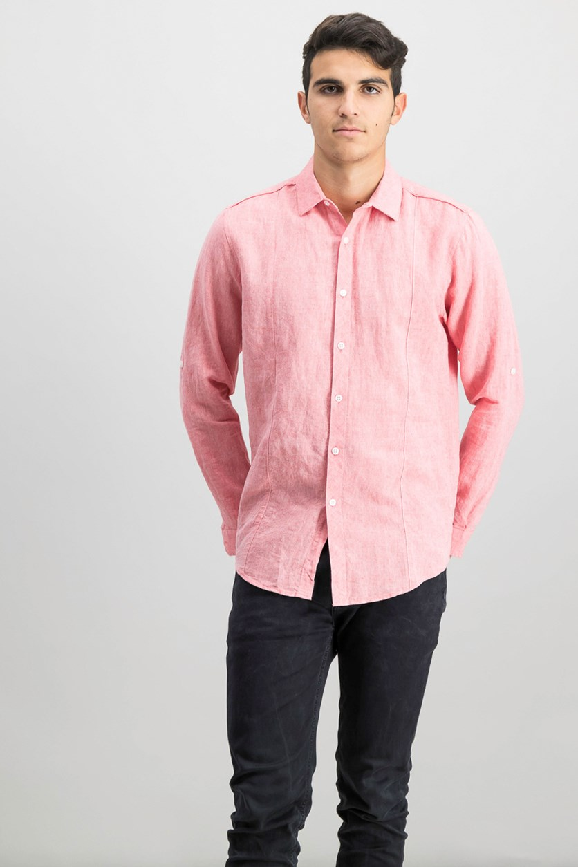 International Concepts Men's Linen Shirt, Coral