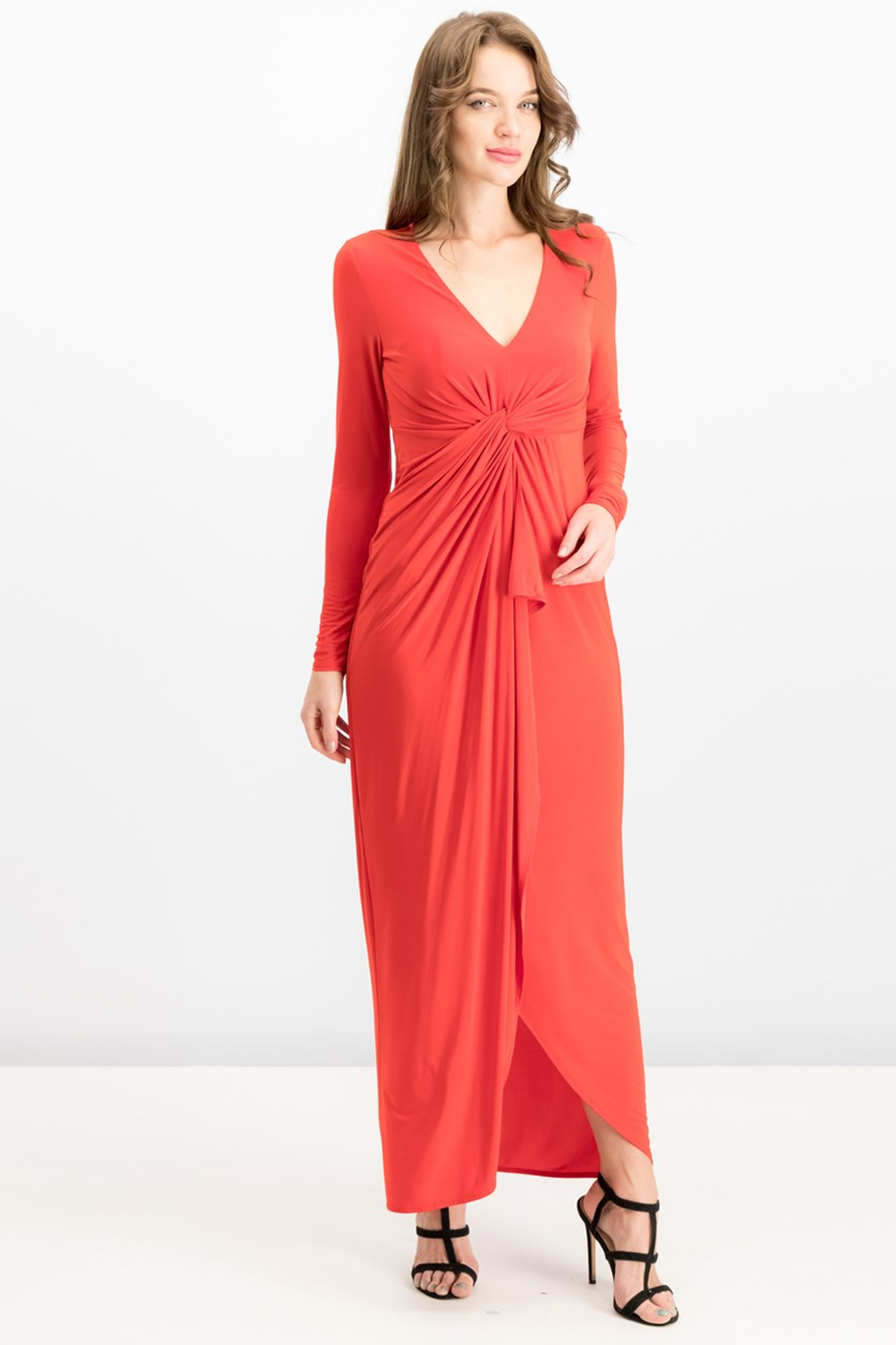 Long-Sleeve High-Low Maxi Dress, High Volage