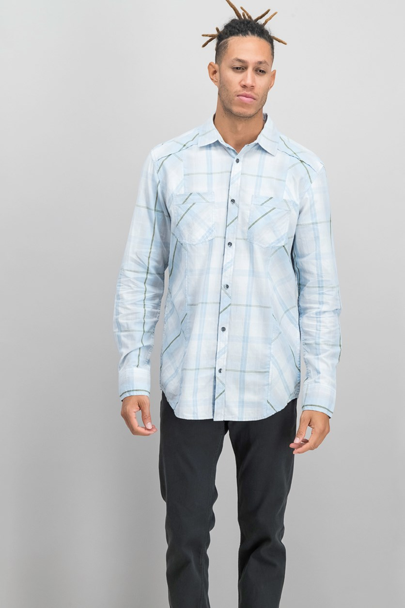 International Concepts Men's Markallen Plaid Shirt, Blue Combo