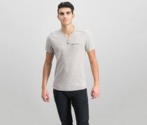 Men's Chambers Heathered Split-Neck T-Shirt, Tiramisu