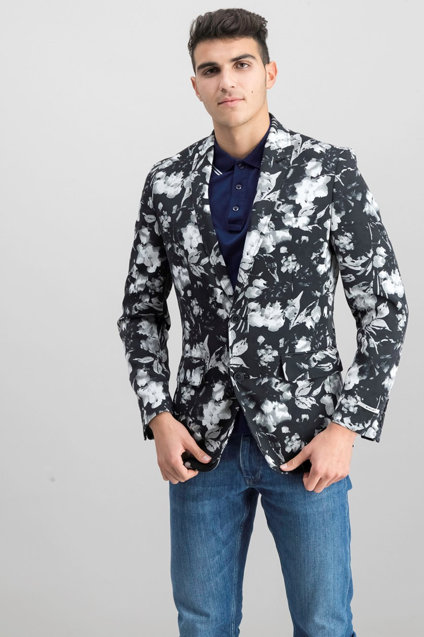 International Concepts Mens Slim-Fit Floral-Print Blazer, Black Combo