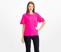 International Concepts Ruffled-Sleeve Top, Intense Pink