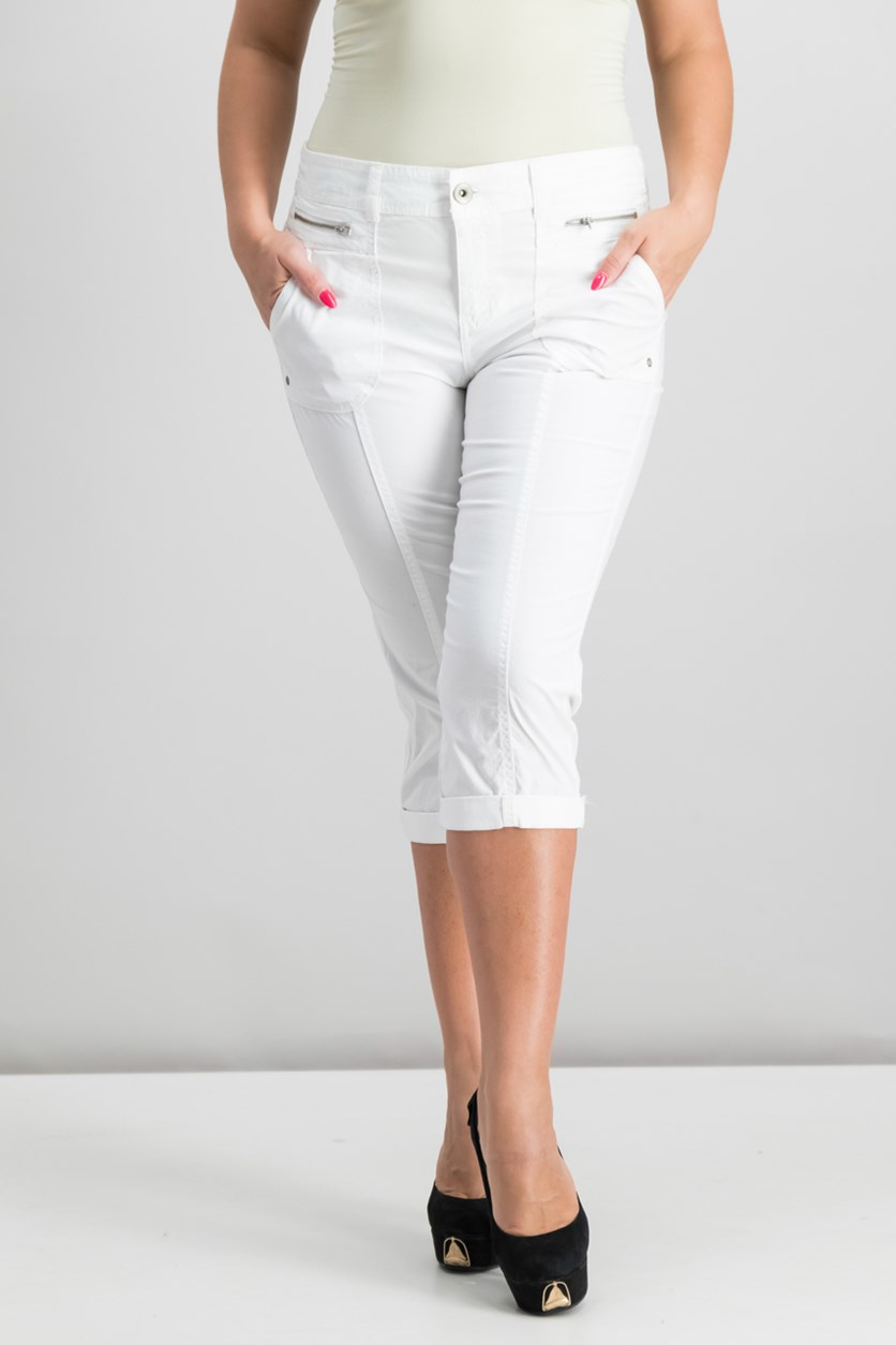 Petite Cuffed Capri Pants, Bright White