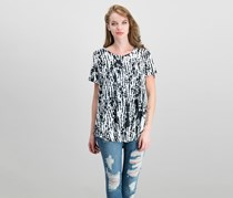 JM Collection Shirttail-Hem Top, Black Linear Spots