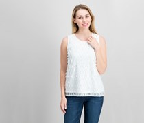 Alfani Petite Embroidered-Front Top, Soft White