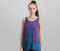 INC Womens Embroidered Sleeveless Tank Top, Chambray Blue
