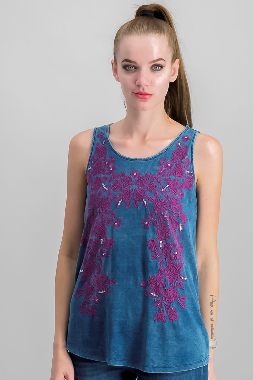 Womens Embroidered Sleeveless Tank Top, Chambray Blue