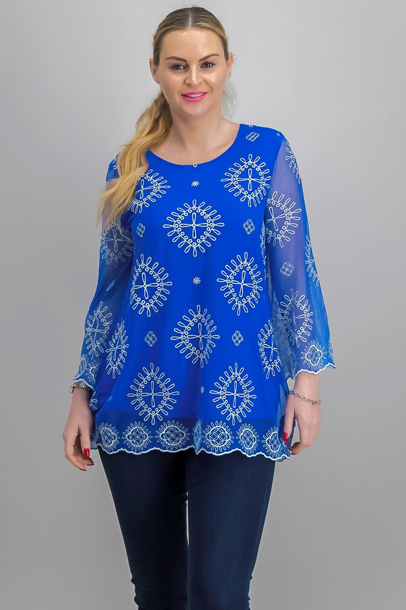 Embroidered Sheer-Sleeve Top, Blue Sky Embellishment