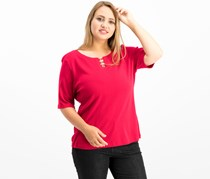 Karen Scott Women's Cotton Metal-Ring T-Shirt, Red