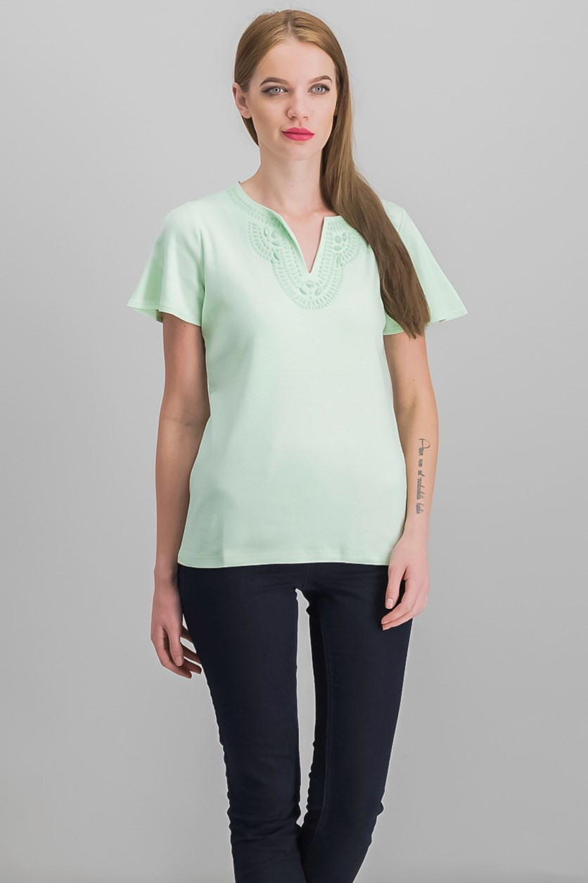 Women's Cotton Embellished Top, Calm Aloe