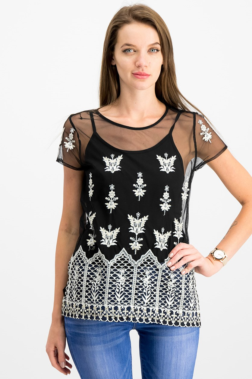 International Concepts Embroidered Sheer Top, Black