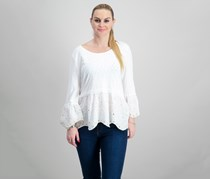 Embroidered Peplum Bell-Sleeve Top, White Scallop