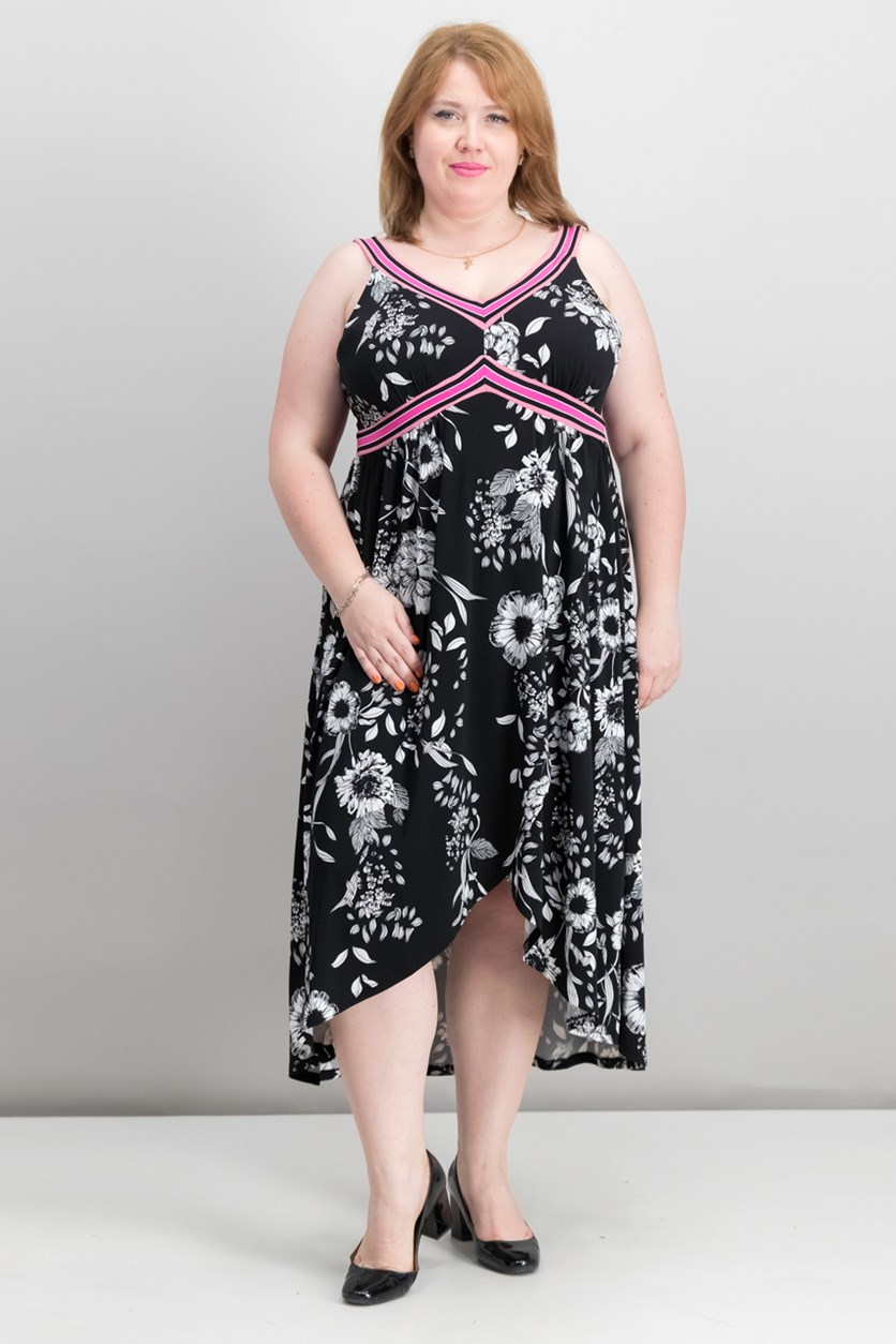 Plus Size Printed Midi Dress, Polished Floral