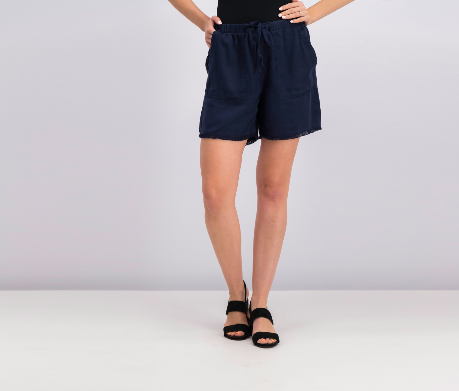 Style Co Frayed-Hem Pull-On Shorts, Industrial Blue