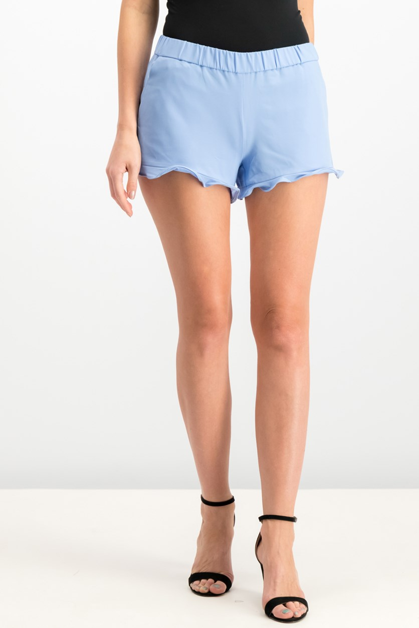 Pull-On Ruffle-Trim Shorts, Light French Blue