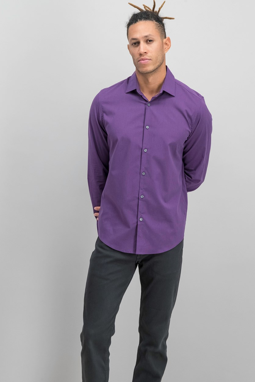 Men's Stretch Modern Solid Shirt, Deep Purple