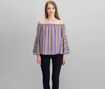 Bar III Over-The-Shoulder Flared Sleeve Top, Purple Combo