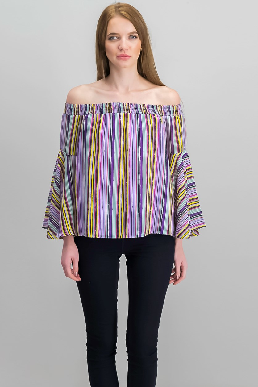 Over-The-Shoulder Flared Sleeve Top, Purple Combo