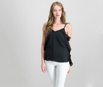 Bar III Ruffle-Side Top, Black