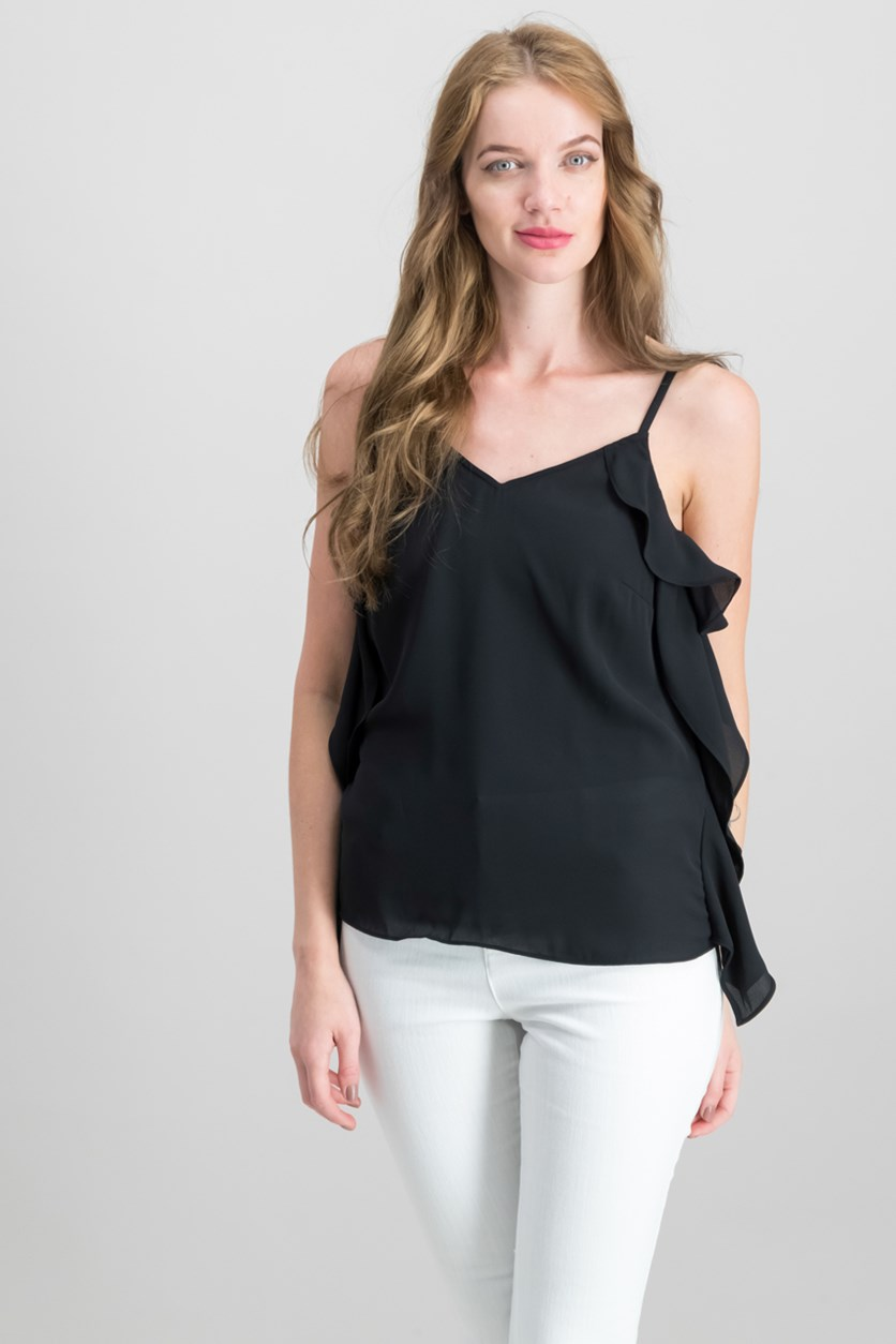 Ruffle-Side Top, Black