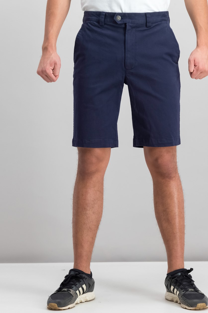 Men's Twill Stretch Shorts, Navy Blue