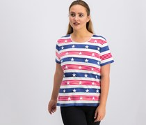Karen Scott Petite Cotton Star-Stripe T-Shirt, White Combo