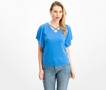 Women Petite Cross-Neck Butterfly-Sleeve Top,  Beach Blue