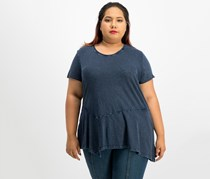 Style & Co Plus Size Asymmetrical Flounce-Hem Top, Industrial Blue