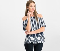 Women Petite Mixed-Print Cold-Shoulder Top, Navy Geo Stripe