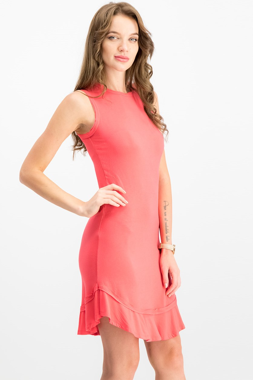 Ruffled-Hem A-Line Dress, Crushed Coral