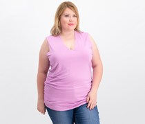 INC International Concepts Plus Size Ruched V-Neck Tank, Orchid Pop