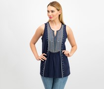 Charter Club Cotton Embroidered Tank Top, Intrepid Blue